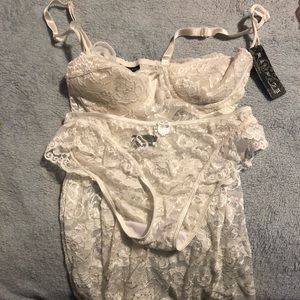 NWT Rampage white sheer Lacey lingerie set